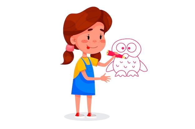 Kinderfiguren zeichnen auf weißen wänden. internationaler kindertag. sommerkinderaktivitäten. vektorabbildungen. Premium Vektoren