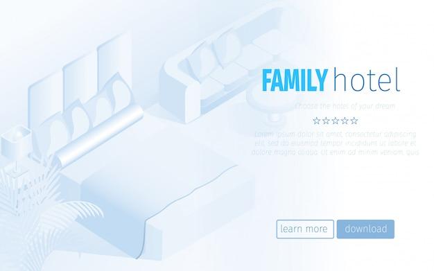Kinderfreundliche buchung hotelzimmer landing page Premium Vektoren