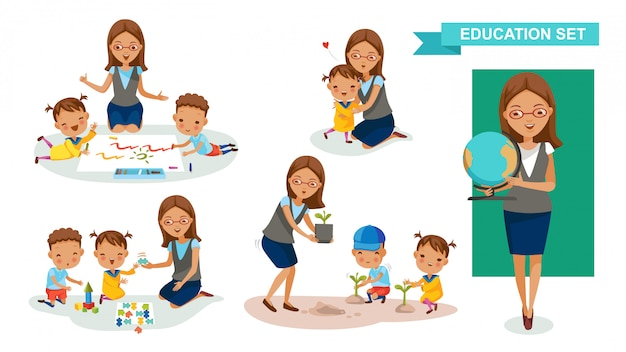 Kindergärtnerin gesetzt. schüleraktivität und back to school-konzept. Premium Vektoren