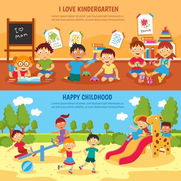 Kindergarten banner gesetzt Kostenlosen Vektoren