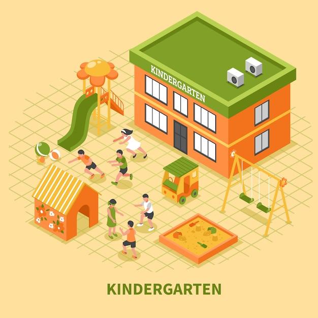 Kindergarten gebäude isometrische zusammensetzung Kostenlosen Vektoren