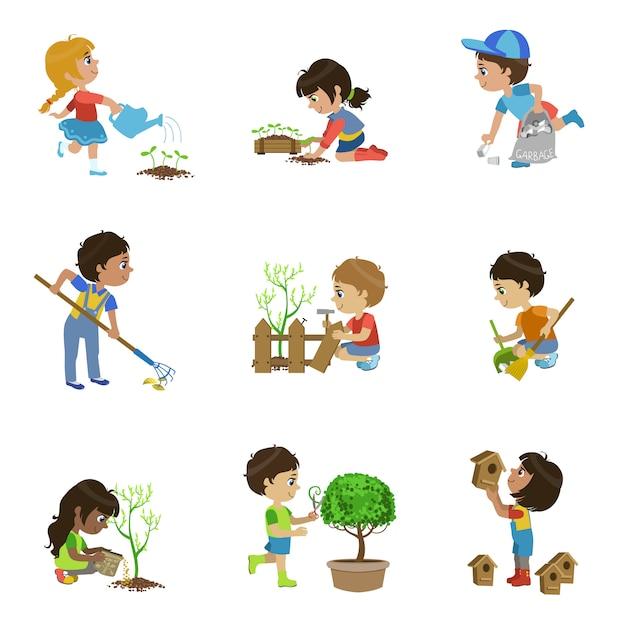 Kindergarten illustrationen sammlung Premium Vektoren