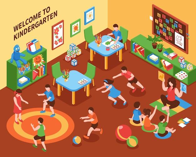 Kindergarten interieur isometrische zusammensetzung Kostenlosen Vektoren