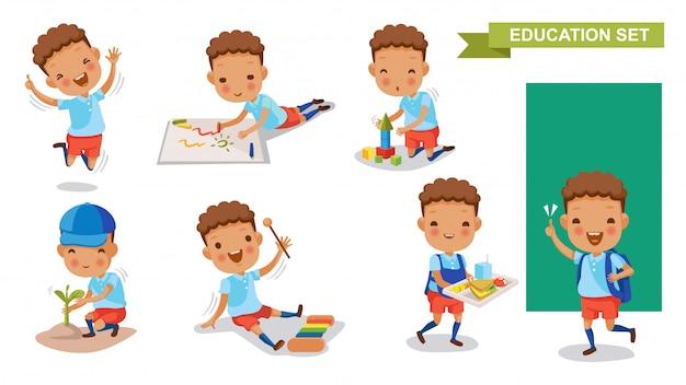 Kindergarten junge festgelegt. schüleraktivität und back to school-konzept. Premium Vektoren