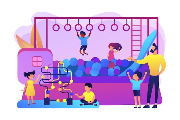 Kindergarten, kindertagesstätte. aktive erholung in der kindheit. spielzimmer für kinder, beste indoor-spielplätze, alles in einem indoor-aktivitätskonzept. helle lebendige violette isolierte illustration Kostenlosen Vektoren