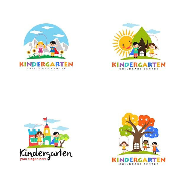 Kindergarten logo vorlage Premium Vektoren