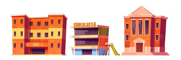 Kindergarten-, schul- und universitätsgebäude eingerichtet Kostenlosen Vektoren