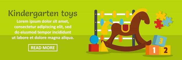 Kindergarten spielt horizontales konzept der fahnenschablone Premium Vektoren
