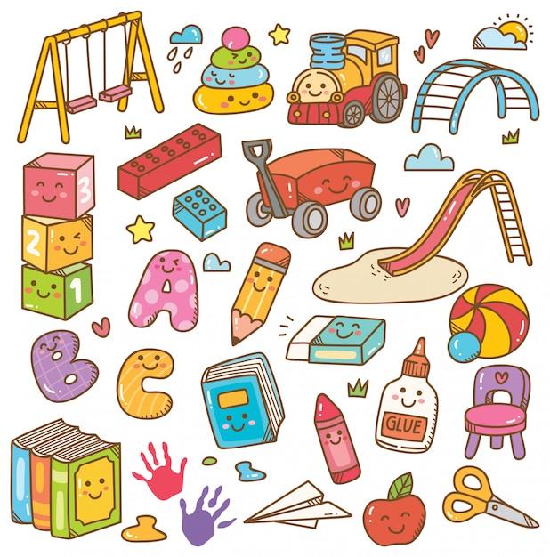 Kindergarten spielzeug und ausrüstung doodle-set Premium Vektoren