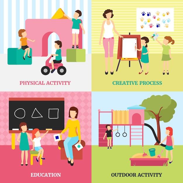 Kindergartenkonzeptikonen stellten mit tätigkeiten im freien und bildungssymbolen flach ein Kostenlosen Vektoren