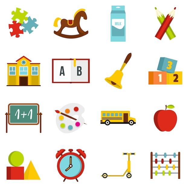 Kindergartensymbolikonen eingestellt in flache art Premium Vektoren