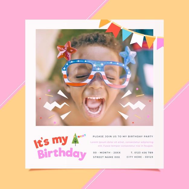 Kindergeburtstagseinladungsschablone mit foto Kostenlosen Vektoren