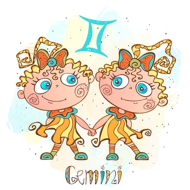 Kinderhoroskop illustration. sternzeichen für kinder. gemini-zeichen Premium Vektoren