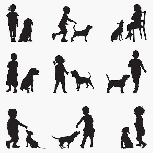 Kinderhunde silhouetten Premium Vektoren