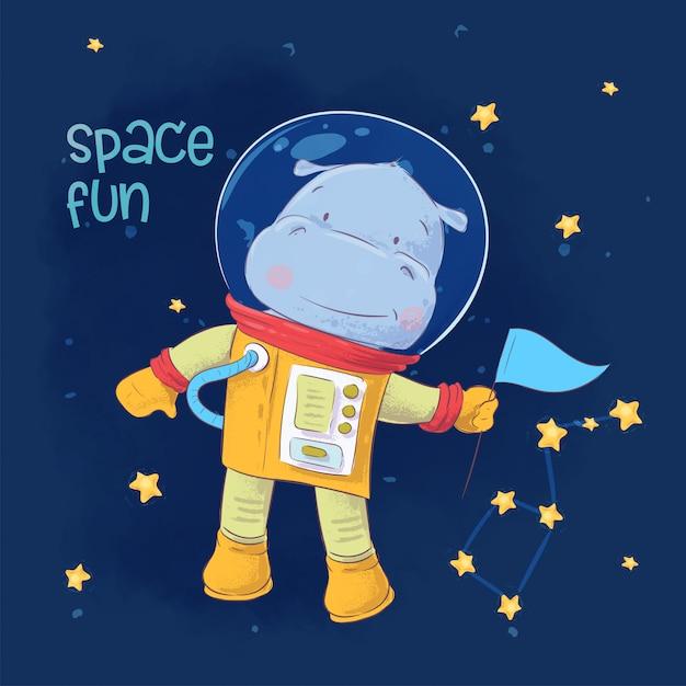 Kinderillustration des netten astronautenflusspferds im raum mit konstellationen und sternen Premium Vektoren