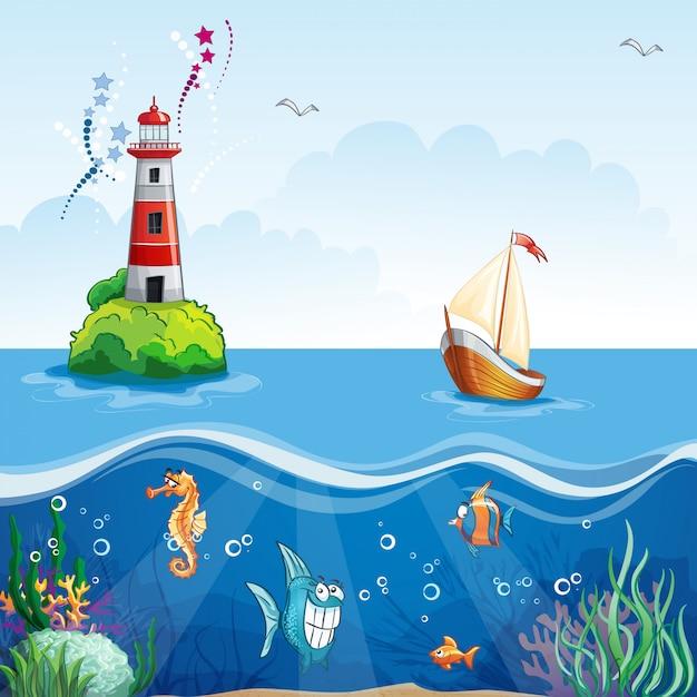 Kinderillustration mit leuchtturm und segelboot. auf dem meeresboden und lustige fische Premium Vektoren
