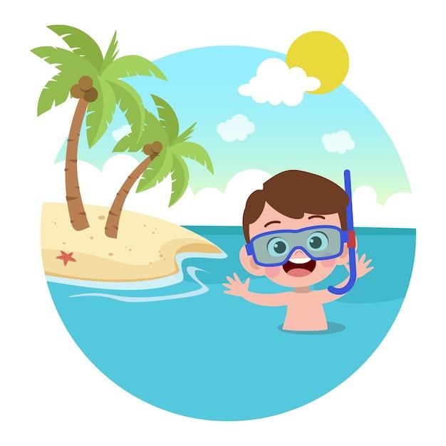 Kinderjunge, der auf strandillustration spielt Premium Vektoren
