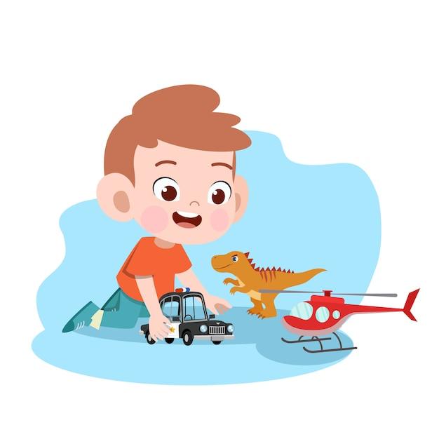 Kinderjungenspielauto-spielzeugillustration Premium Vektoren