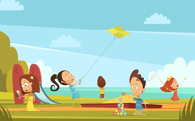 Kinderkarikaturhintergrund mit sommeraktivitätssymbolen im freien spielend, vector illustration Kostenlosen Vektoren