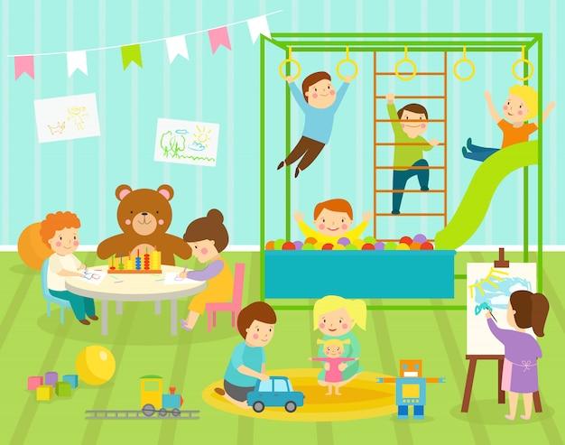Kinderkinderzimmer des jungenkinder mit großer rutschenschaukel mit leichtem möbeldekor. junge baby kinder spielplatz spielzeug roboter, zug, bälle spielzimmer wohnung dekorieren Premium Vektoren