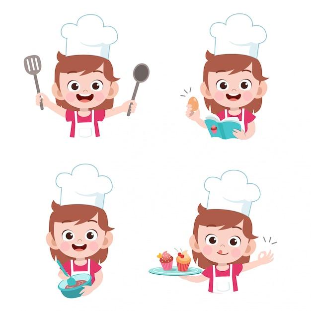 Kinderkoch kochen Premium Vektoren