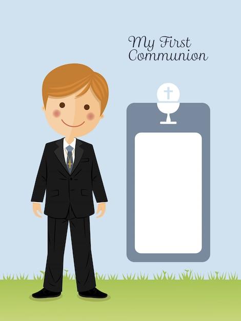 Kinderkostüm in ihrer ersten kommunion Premium Vektoren