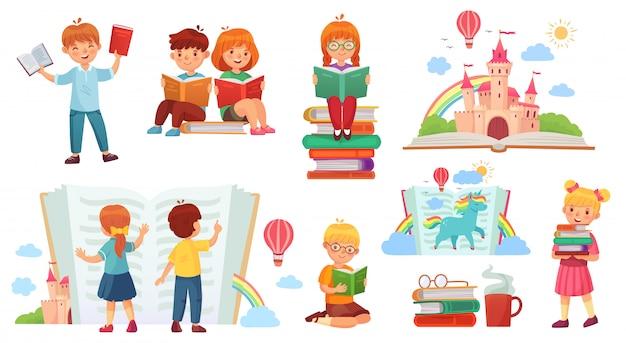 Kinderlesebuch. karikaturkinderbibliothek, glückliches kind lasen bücher und lokalisierten illustration des buchstapels Premium Vektoren