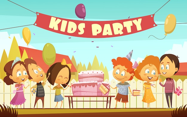 Kinderparty-karikaturhintergrund mit lustiger firma der jungen Kostenlosen Vektoren