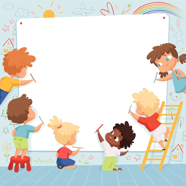 Kinderrahmen. nette zeichenkinder malen zeichnung und spielen leeren platz für textvorlage. kinder zeichnen auf weißem banner, zeichen vorschule maler illustration Premium Vektoren