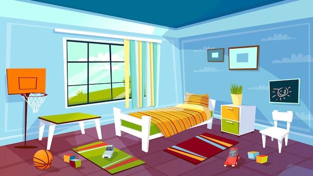 Kinderraum des innenhintergrundes des kinderjungenschlafzimmers. Kostenlosen Vektoren
