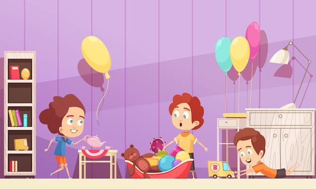 Kinderraum in der violetten farbe mit kinderillustration Kostenlosen Vektoren