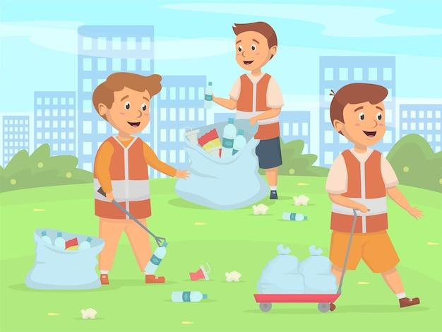 Kinderreinigung aktivitätskonzept Premium Vektoren