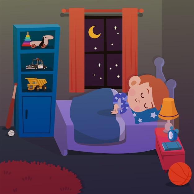 Kinderschlaf in der raumvektorillustration Premium Vektoren