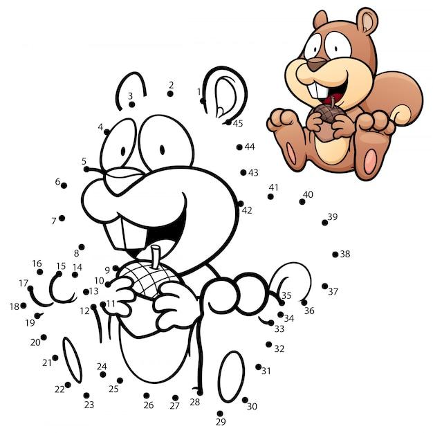 Kinderspiel punkt zu punkt eichhörnchen Premium Vektoren