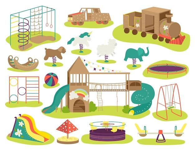 Kinderspielplatz illustrationen gesetzt. schaukelbrett, schaukeln, sandkasten, sandkasten und bank, karussell, kinderrutsche, spielhaus. baby-spielfeld, spielplatz für kinder, erholungsgebiet. Premium Vektoren