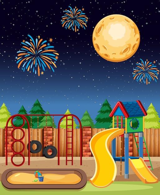 Kinderspielplatz im park mit großem mond und feuerwerk am himmel im nachtkarikaturstil Kostenlosen Vektoren