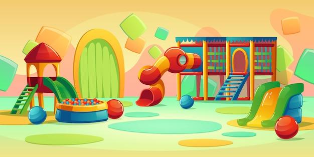 Kinderspielplatz mit karussell und rutsche Kostenlosen Vektoren