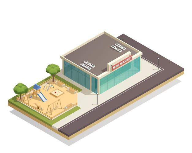 Kinderspielplatz nahe shop-isometrischer zusammensetzung Kostenlosen Vektoren