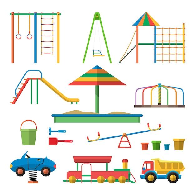 Kinderspielplatz-vektorillustration mit lokalisierten gegenständen. kinder-design-elemente im flachen stil. Premium Vektoren