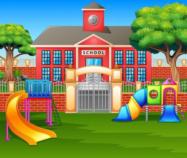 Kinderspielplatz vor dem schulhof Premium Vektoren