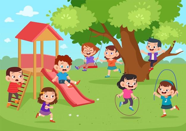 Kinderspielplatz zusammen Premium Vektoren