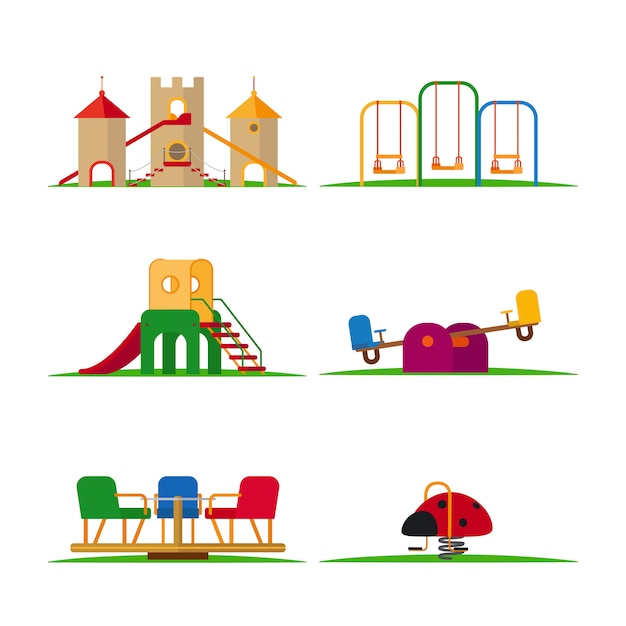 Kinderspielplatzelemente Premium Vektoren