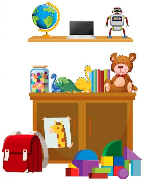 Kinderspielzeug auf weißem hintergrund Kostenlosen Vektoren