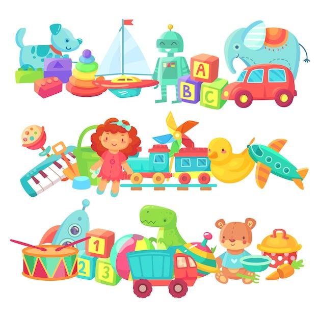 Kinderspielzeug gruppen. cartoon baby doll und zug, ball und autos Premium Vektoren