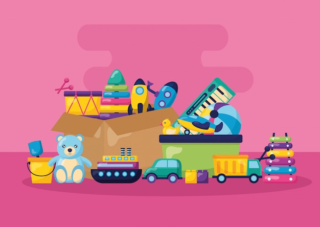 Kinderspielzeug illustration Kostenlosen Vektoren