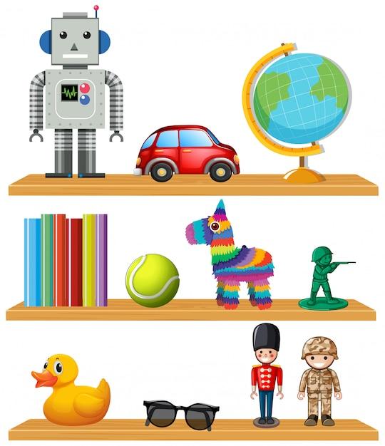 Kinderspielzeug im regal Kostenlosen Vektoren