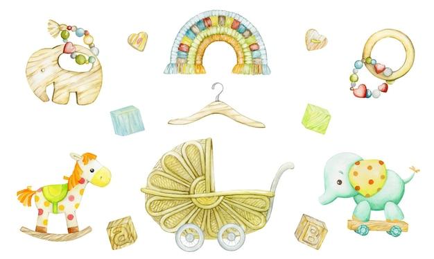 Kinderspielzeug in einer ökologischen stilillustration Premium Vektoren