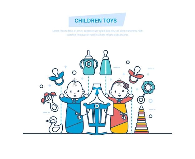 Kinderspielzeug und zubehör für neugeborene jungen und mädchen dünne linie. Premium Vektoren