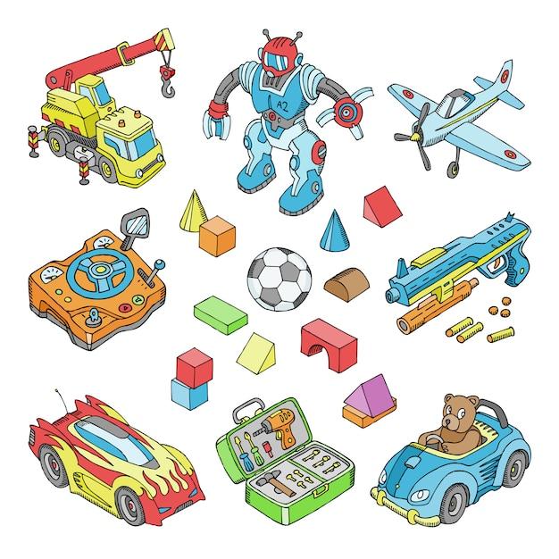 Kinderspielzeugkarikaturjungenspiele im spielzimmer und spielen mit auto oder kinderblöcken illustration isometrischer satz von teddybär und flugzeug oder roboter für jungen auf weißem hintergrund Premium Vektoren