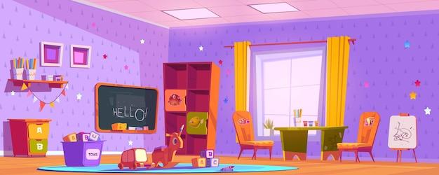 Kinderspielzimmer interieur, leer drinnen kinderzimmer spielplatz Kostenlosen Vektoren